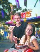 [Image] 27/8/14  Taste Cover - food at the show, models Siobhan and Jason at the Adelaide Showgrounds.